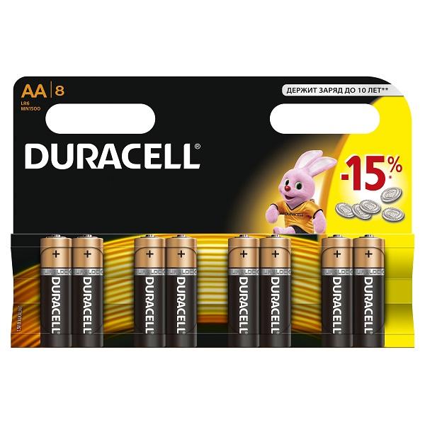 Батарейки Duracell LR6 BL8 08812 Дюрасел АА 8 шт. на блистере