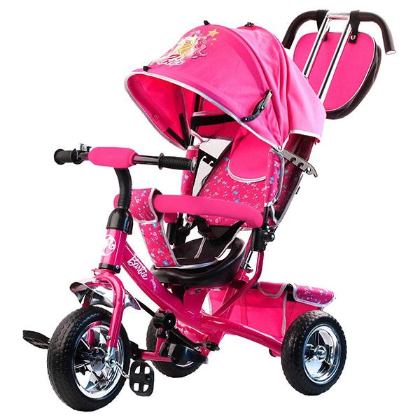 BARBIE HB7PS Велосипед-коляска Barbie, колеса 10и 8,с руч.управ., наклонная спинка , розовый