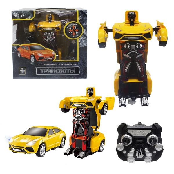 1toy T10868 Робот на р/у 2,4GHz, трансформирующийся в Легковую машину, 20 см, жёлтый
