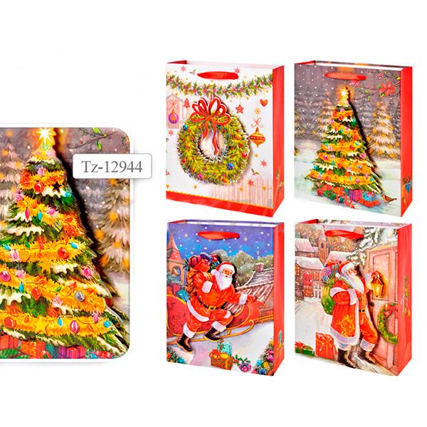 Пакет подарочный новогодний бумажный TZ12944 с 3D аппликацией, 4 вида (24*18*8 см) (в ассортименте) пакет подарочный бумажный s1511 с днем рождения 3 вида 32x26x13 см в ассортименте