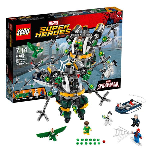 Lego Super Heroes 76059 Лего Супер Герои Человек-паук: В ловушке Доктора Осьминога 76057 человек паук последний бой воинов паутины