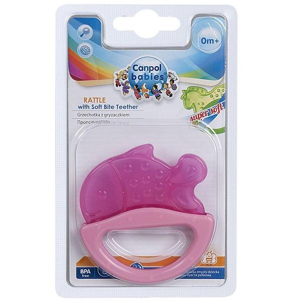 Canpol babies 250930500 Погремушка с эластичным прорезывателем, 0+, цвет: розовый, форма: рыбка