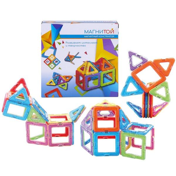 """Магнитой LL-1005 Конструктор магнитный """"12 квадратов (6 - без окна), 8 треугольников"""""""