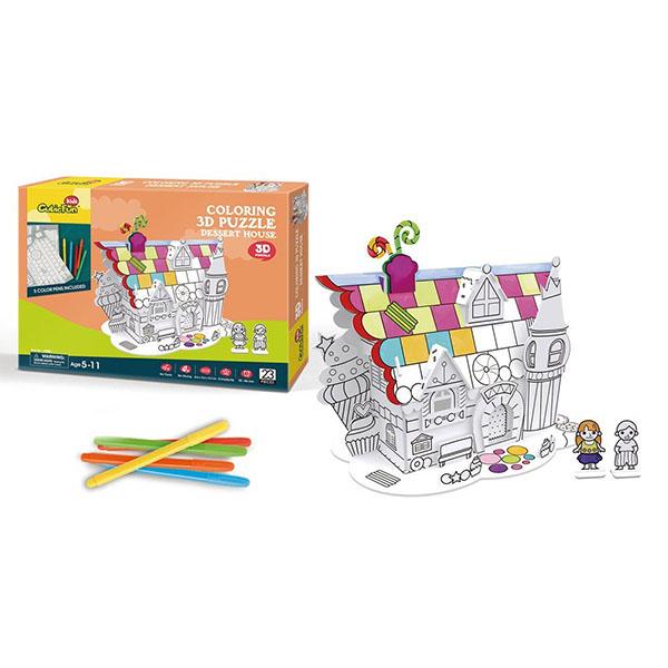 Cubic Fun P688h Кубик фан Пазл-раскраска Десертный домик (5 фломастеров в комплекте)