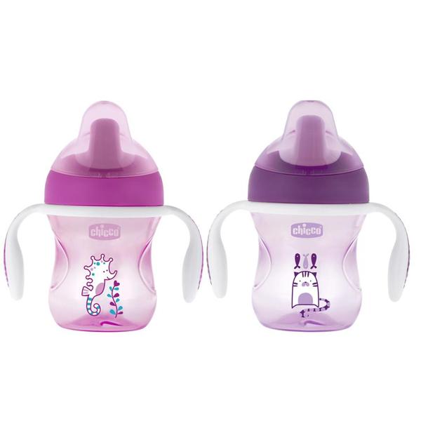 Chicco 340624026 Чашка-поильник Training Cup (полужесткий носик) 6мес+, 200 мл., розовая/фиолетовая