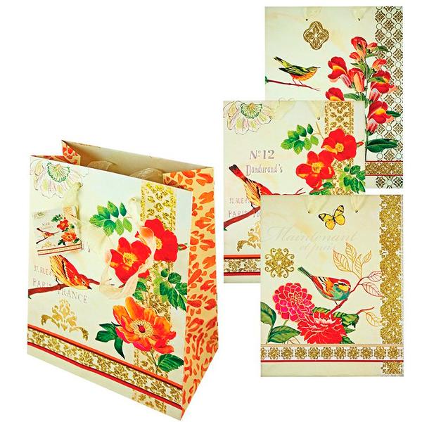 Пакет подарочный бумажный TZ6608 Райская птичка 40.5*32*12.7 см, 4 дизайна ассорти NEW пакет подарочный бумажный garden tz6617 32 5 26 11 5 см в ассортименте