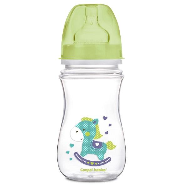 Canpol babies 250989240 Бутылочка PP EasyStart с шир. горлышком антиколиковая, 240 мл, 3+ ,(зеленый)