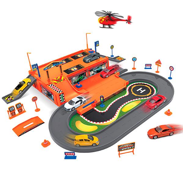 Welly 96030 Велли Игровой набор Гараж, включает 3 машины и вертолет набор игровой для мальчика poli средний трек с умной машинкой