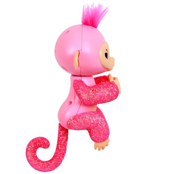 FINGERLINGS 3764M Интерактивная обезьянка РОЗА (розовая),12 см