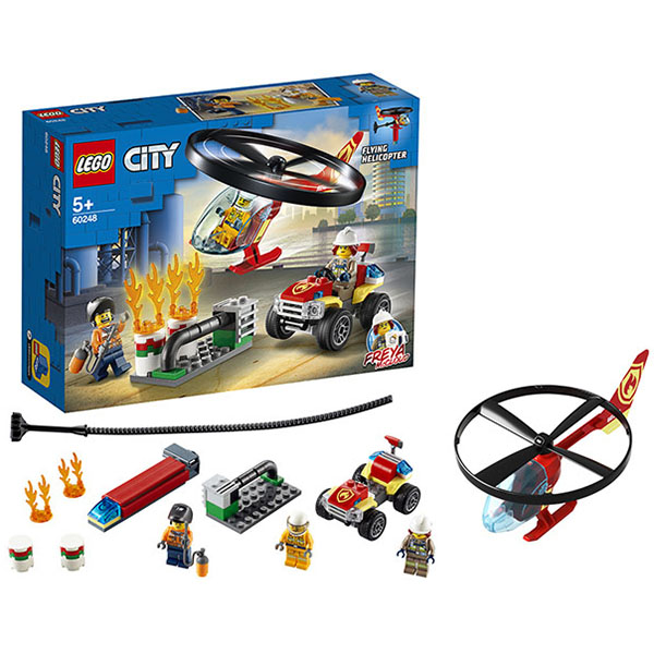 LEGO City 60248 Конструктор ЛЕГО Город Пожарный спасательный вертолёт lego city 60179 вертолёт скорой помощи lego