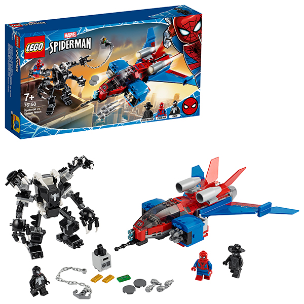 LEGO Super Heroes 76150 Конструктор ЛЕГО Реактивный самолёт Человека-Паука против Робота Венома конструктор lego super heroes mighty micros 76070 чудо женщина против думсдэя