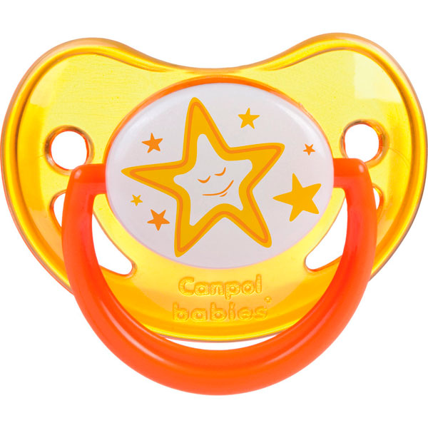 Canpol babies 250930234 Пустышка анатомическая силиконовая, Night Dreams, желтая, 0-6м