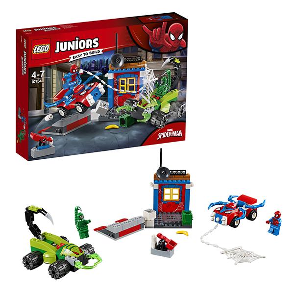 Lego Juniors 10754 Конструктор Лего Джуниорс Решающий бой Человека-паука против Скорпиона lego juniors 10765 конструктор лего джуниорс подводный концерт ариэль