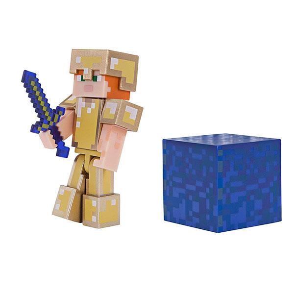 Minecraft 19970 Майнкрафт фигурка Alex in Gold Armor bandai фигурка minecraft mine charact box alex 4 см