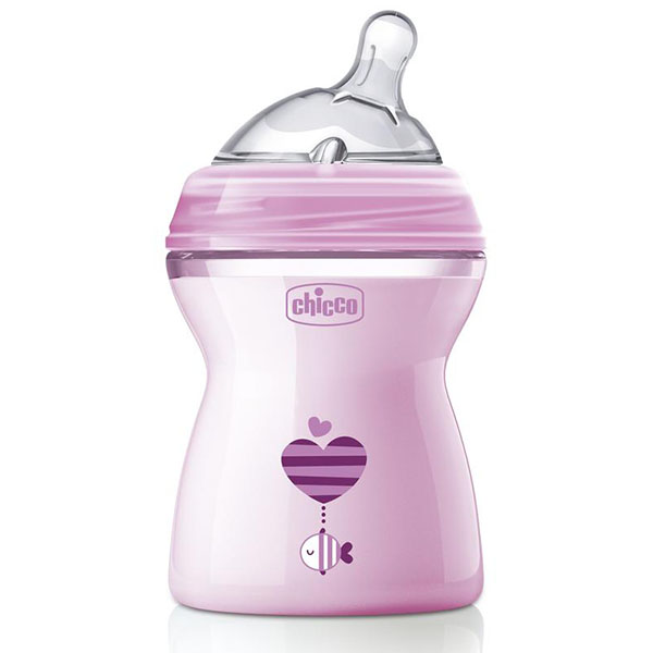 Chicco 310205208 Бутылочка Natural Feeling,2мес.+,сил.соска с флексорами,250мл., розовая