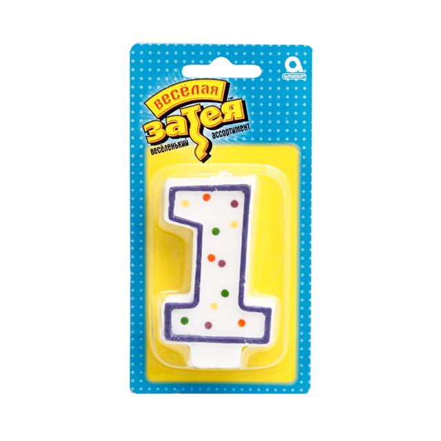Веселая Затея 1502-0137 Свеча- цифра 1, 7,6 см/A