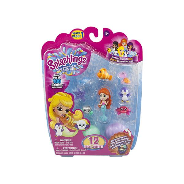 Splashlings 297597 Сплешлингс Игровой набор Русалка + 9 питомцев + 2 ракушки (в ассортименте)