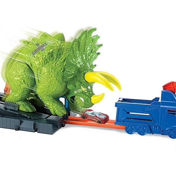 "Mattel Hot Wheels GBF97 Хот Вилс Сити Игровой набор ""Разгневанный трицератопс"""