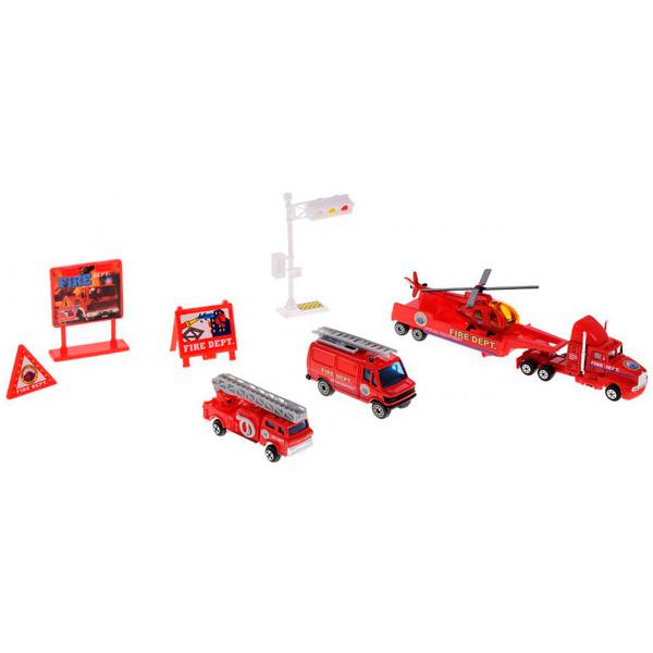 Welly 98630-9C Велли Игровой набор Служба спасения - пожарная команда 9 шт welly welly набор служба спасения пожарная команда 4 штуки