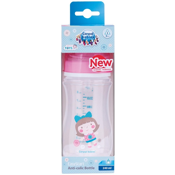 Canpol babies 250989241 Бутылочка PP EasyStart с шир. горлышком антиколиковая, 240 мл, 3+ ,(розовая)