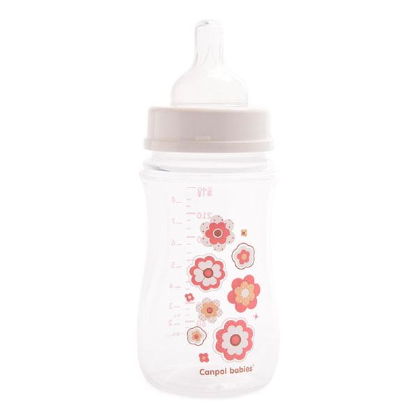 Canpol babies 250930099 Бутылочка PP EasyStart с широким горлышком антиколиковая, розовая,240 мл,3м+