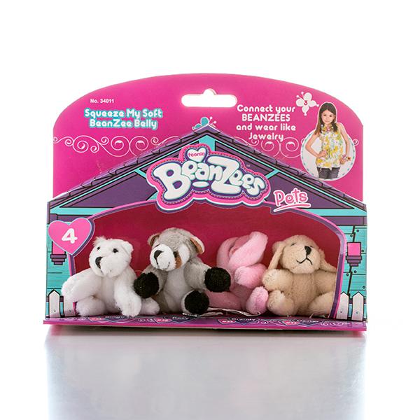 """Beanzees B34011 Бинзис Мини плюш в наборе """"Медведь, Енот, Кролик, Песик"""""""