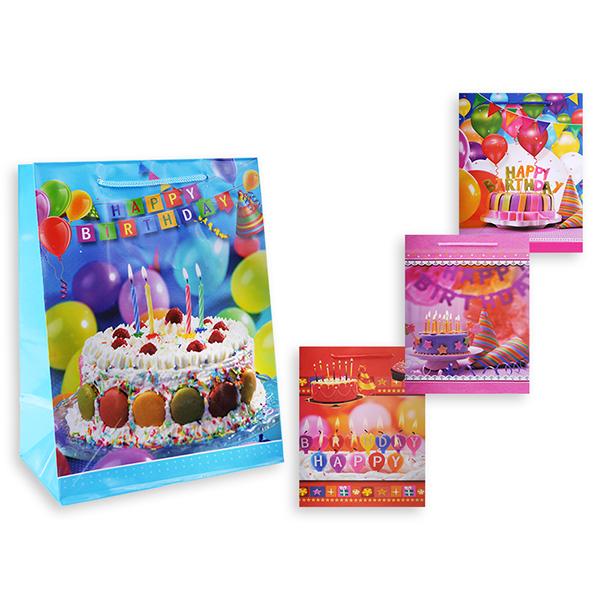 Пакет подарочный S8381 День рождения, 23х18х10 см, в ассортименте 4 вида пакет подарочный бумажный s1511 с днем рождения 3 вида 32x26x13 см в ассортименте