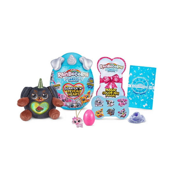 1toy T20716 ZURU Плюш-сюрприз RainBocoRns Puppycorn мини в яйце (в ассортименте)