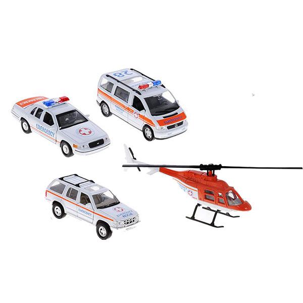 Welly 98160-4D Велли Игровой набор машин Скорая помощь 4 шт welly welly набор служба спасения скорая помощь 4 штуки