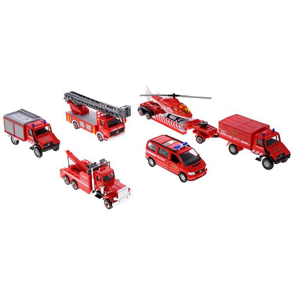 Welly 99610-6B Велли Игровой набор машин Пожарная служба 6 шт городской транспорт welly набор машинок welly пожарная служба 11 см 3 шт