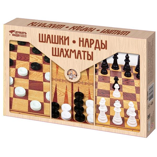 Десятое королевство TD03872 Игра настольная Шашки, Нарды, Шахматы (большие) набор настольных игр haleyan шахматы нарды резные c араратом 40 с ручкой