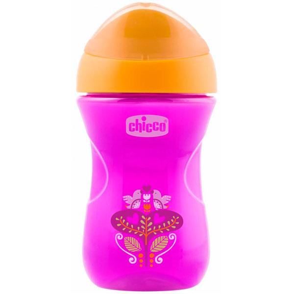 Chicco 340624220 Чашка-поильник Easy Cup (носик ободок) 266 мл, розовый с цветочком, 12м+