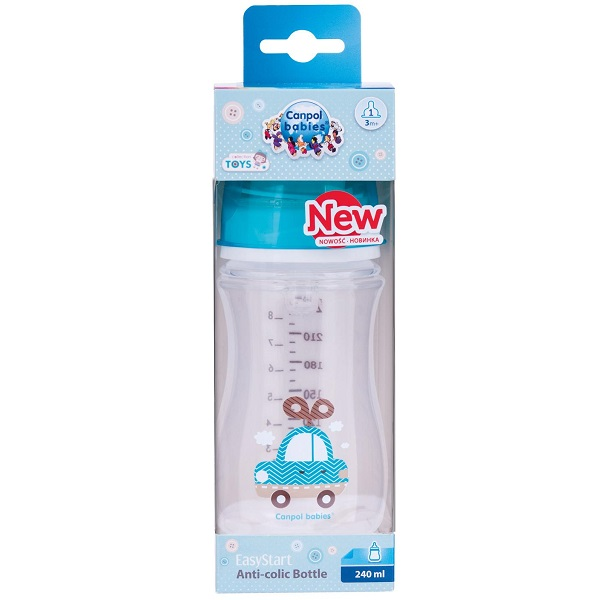 Canpol babies 250989239 Бутылочка PP EasyStart с шир. горлышком антиколиковая, 240 мл, 3+ ,(голубой)