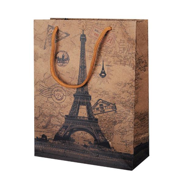Пакет подарочный бумажный S1546 ПАРИЖ (крафт), 6 видов (25x19x8 см) (в ассортименте) пакет подарочный бумажный garden tz6617 32 5 26 11 5 см в ассортименте