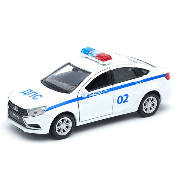Welly 43727PB Велли Модель машины 1:34-39 LADA Vesta Полиция ДПС машинки и мотоциклы welly lada vesta дпс 1 34 39