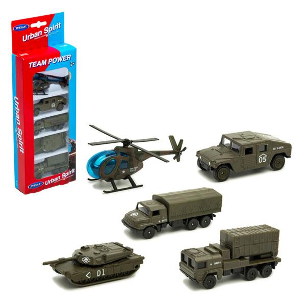 Welly 97506M Велли Игровой набор Военная техника 5 шт. welly 99610 3b велли игровой набор машин строительная техника 3 шт