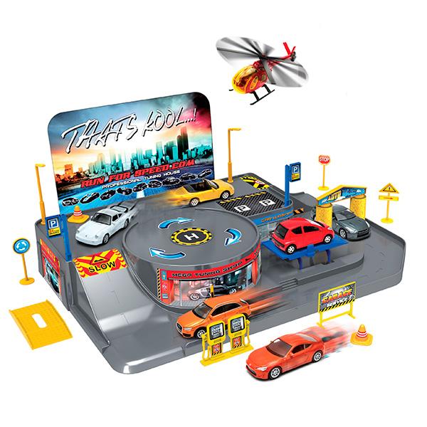 Welly 96010 Велли Игровой набор Гараж, включает 3 машины и вертолет