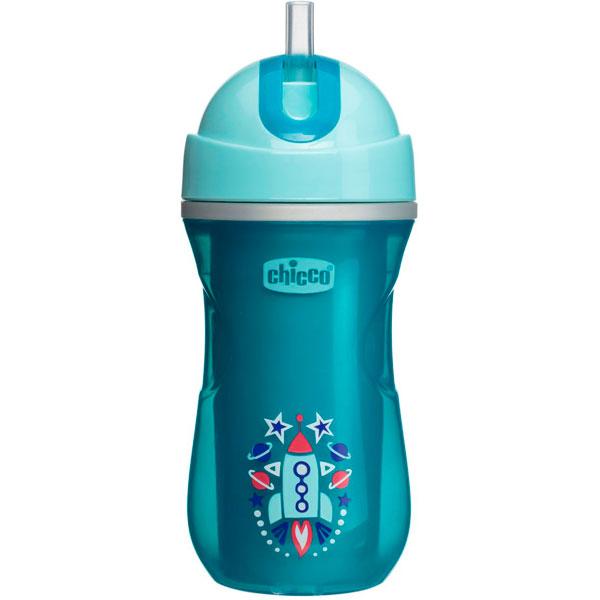 Chicco 340624034 Чашка-поильник Sport Cup (трубочка) 266 мл, голубой, 14м+