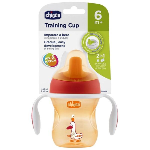 Chicco 340624119 Чашка-поильник Training Cup (полужесткий носик) 200 мл, красный, 6м+