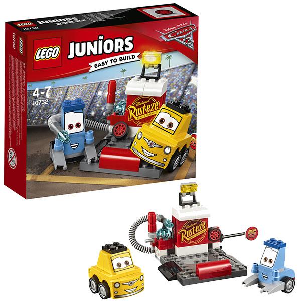 Lego Juniors 10732 Лего Джуниорс Тачки Пит-стоп Гвидо и Луиджи lego juniors 10739 лего джуниорс ниндзяго нападение акулы