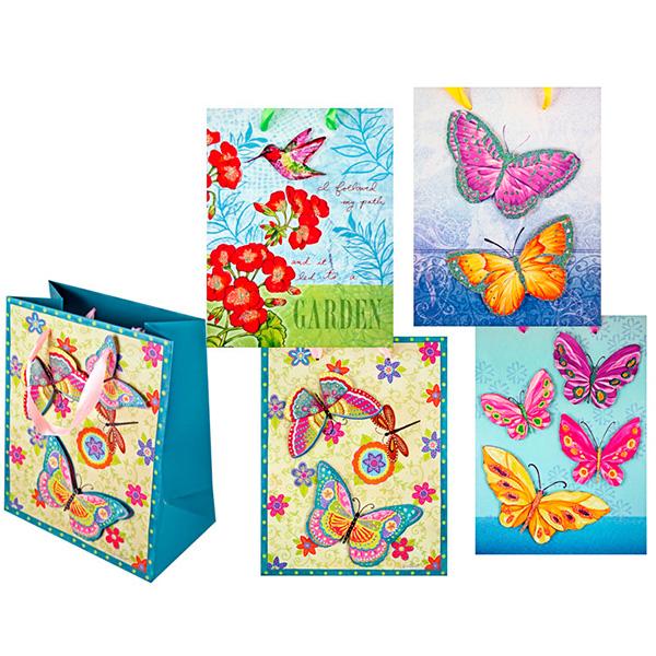 Пакет подарочный бумажный GARDEN, 4 дизайна TZ6618 (29*21*10 см) (в ассортименте) пакет подарочный бумажный garden tz6617 32 5 26 11 5 см в ассортименте