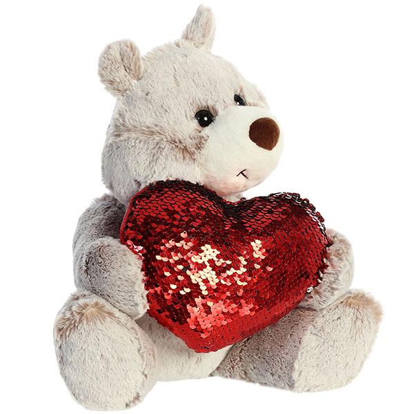 Aurora 190114C Аврора Медведь Большое сердце коричневый 30 см. aurora 180524b аврора лама розовая 15 см