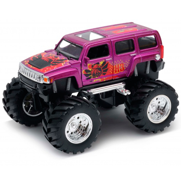 Welly 47001S Велли Модель машины 1:34-39 Hummer H3 Big Wheel Monster 4pcs 100mm 1 9 rubber rocks tyres wheel tires for scx10 d90 rc rock crawler car 1 10 monster truck rc on road car parts