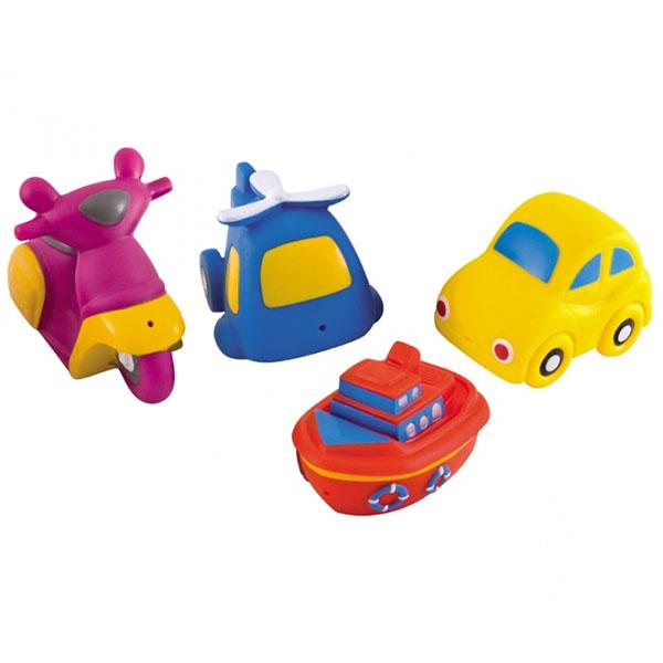 Canpol 250915008 Игрушки для ванны - машины, 4 шт, 12+ Vehicles игрушки для ванны babyono игрушки для ванной животные средние 4 шт