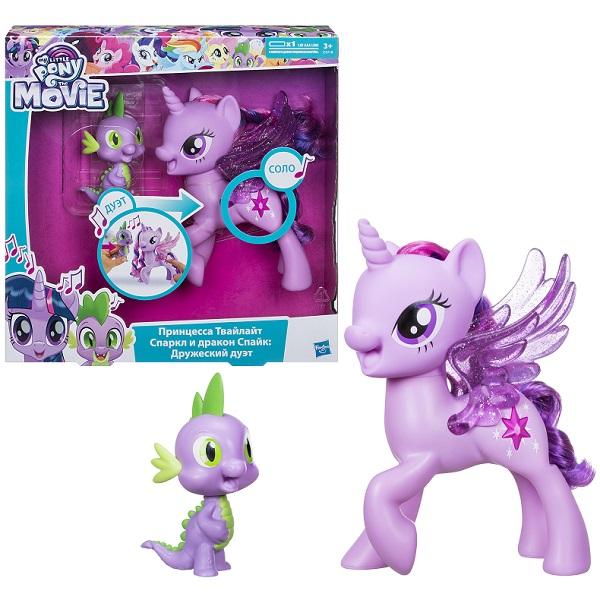 Hasbro My Little Pony C0718 Май Литл Пони Сияние Поющие Твайлайт и Спайк hasbro my little pony сияние поющая твайлайт спаркл и спайк c0718121