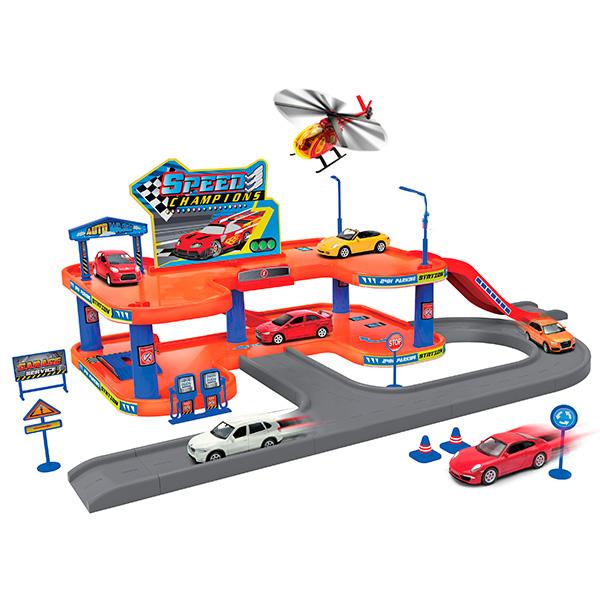 Welly 96040 Велли Игровой набор Гараж, включает 3 машины и вертолет