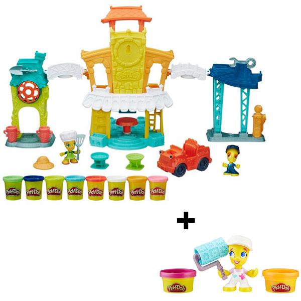 Hasbro Play-Doh B5868N Игровой набор Главная улица + Фигурки hasbro play doh b5517 игровой набор из 4 баночек в ассортименте обновлённый