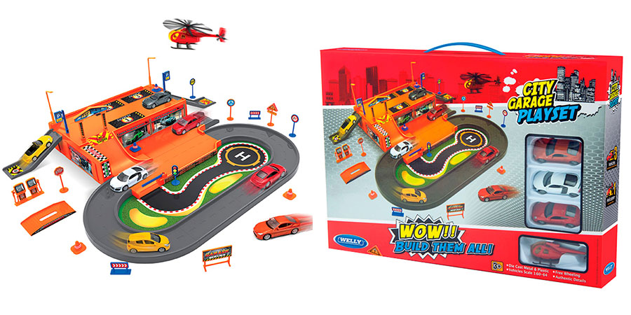 Welly 96030 Велли Игровой набор Гараж, включает 3 машины и вертолет