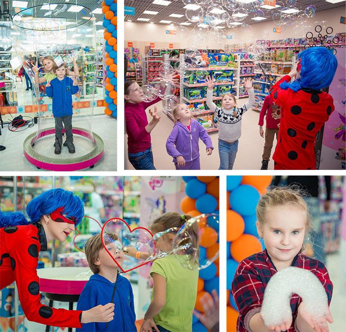 шоу мыльных пузырей в новом магазине TOY.RU