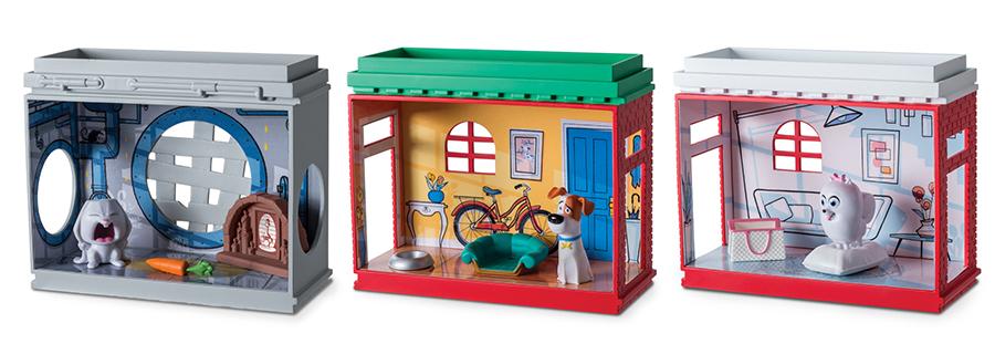 Отличнейший игровой набор, включающий апартаменты и миниатюрные пластиковые фигурки наших героев. Игрушка представлена в ассортименте, наборы отличаются интерьерами и комплектом фигурок. В каждом наборе – три блока с помещениями, в которых живут персонажи мультфильма, три фигурки, а также игровые аксессуары, дополняющие обстановку комнат. Блоки можно ставить друг на друга, образуя многоквартирный жилой дом большого мегаполиса. Размер каждого блока 12х10 см, высота фигурок 3 – 4 см. Игровой набор упакован в коробку блистерного типа (с прозрачным окошком).